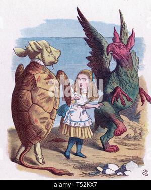ALICE nel paese delle meraviglie. Illustrazione dal 1865 edition mostra Alice con la simulazione di tartaruga e il Grifone Immagini Stock