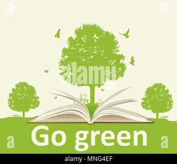 Paesaggio con libro aperto, albero verde e uccelli. Concetto di ecologia. Immagini Stock
