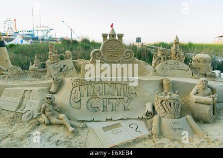 Stati Uniti d'America,New Jersey,Atlantic City, la scultura di sabbia in rappresentanza di Atlantic City Immagini Stock