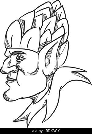 Disegno stile sketch illustrazione di un elfo, un uomo-sagomato essendo soprannaturale nella mitologia germanica folklore guardando al lato che indossa il luppolo hat sulla testa Immagini Stock