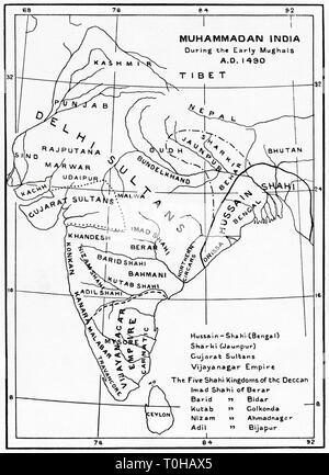 Mappa di Muhammadan India, inizio dell impero Mughal, Immagini Stock