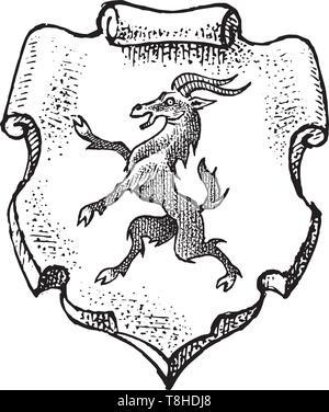 Per animale araldico in stile vintage. Inciso lo stemma con la capra, mitica creatura. Emblemi medievale e il logo del regno fantasy. Immagini Stock