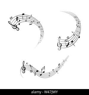Serie di illustrazioni, note musicali sul foglio di musica, design piatto Immagini Stock
