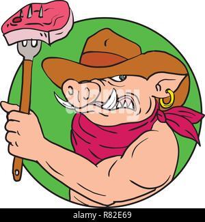 Schizzo di disegno illustrazione dello stile di un cowboy hog, selvaggia di maiale o di cinghiale tenendo una forcella con barbecue steak impostato all'interno del cerchio su isolati backgr bianco Immagini Stock