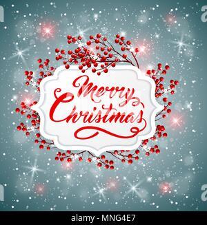 Vettore sfondo di Natale con bacche rosse e saluto l'iscrizione. Buon Natale scritte Immagini Stock