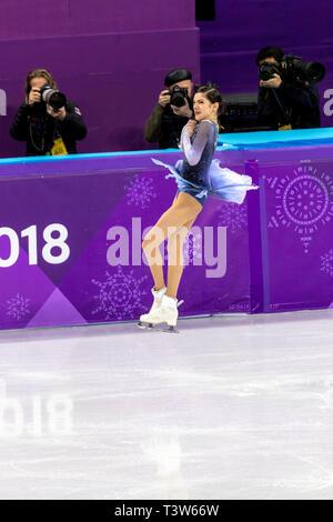 Evgenia Medvedeva (OAR) competere nel pattinaggio di figura - Ladies' breve presso i Giochi Olimpici Invernali PyeongChang 2018 Immagini Stock