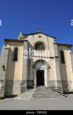 Francia, Alpes de Haute Provence, Barreme, Saint Jean Baptiste chiesa datata 1875 Immagini Stock
