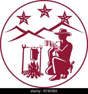 Icona di stile retrò illustrazione del cowboy rustler o bere il caffè dal fuoco con le colline e tre stelle insieme all'interno del cerchio su sfondo isolato. Immagini Stock