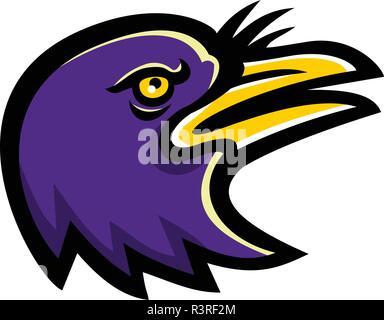 Icona di mascotte illustrazione della testa di un American crow, una grande passerine specie di uccelli della famiglia Corvidae, cercando visto dal lato su b isolate Immagini Stock