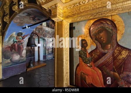 Russia, Krasnojarsk, Golden Ring, Uglich, Uglich il Cremlino e la chiesa di San Pietro sul sangue affreschi Immagini Stock