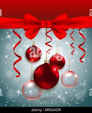 Vettore sfondo di Natale con fiocco rosso e decorazioni. Anno nuovo bigliettino. Immagini Stock