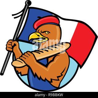 Lo stile del fumetto illustrazione di un aquila francese tenendo una bandiera della Francia e baguette di pane insieme all'interno del cerchio di sfondo isolato. Immagini Stock