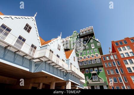 Hotel con architettura eccezionale a Zaandam vicino ad Amsterdam, Paesi Bassi Immagini Stock