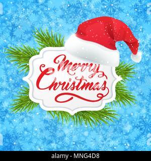 Vettore banner di Natale con verde ramo di abete e il cappello di Babbo Natale su uno sfondo blu. Buon Natale scritte Immagini Stock