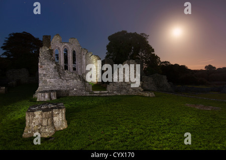 Night Shot di Inch Abbey sotto il chiaro di luna nella contea di Down, settentrionale. L'Irlanda Immagini Stock