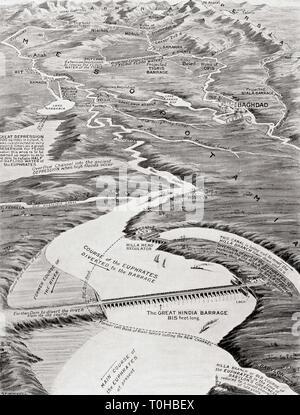 Birds Eye view di Mesopotamia mostra William Willcock proposto programma di irrigazione Immagini Stock