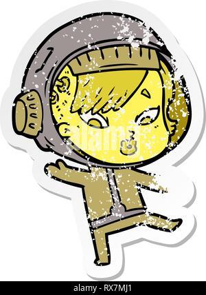 Addolorato adesivo di un cartoon astronauta donna Immagini Stock