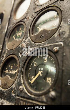 Vecchio cockpit compone Immagini Stock