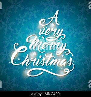 Il messaggio di saluto del vettore iscrizione nella forma di un albero di Natale su uno sfondo blu. Buon Natale scritte Immagini Stock