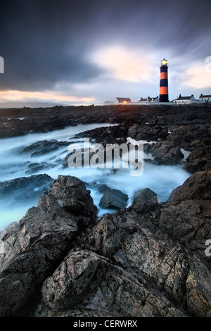 Night Shot di St Johns faro, Co Down, Irlanda del Nord. Immagini Stock
