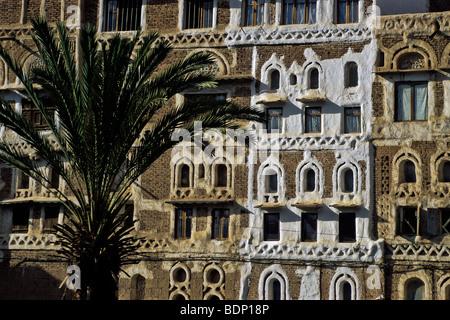 Intricato facciata di edificio, Sanaa, Yemen del Nord Immagini Stock