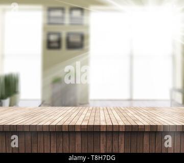 3D render di un tavolo di legno che guarda a una soleggiata sala defocussed interno Immagini Stock