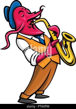 Icona di mascotte illustrazione di un gambero,l'aragosta, crawdads, acqua dolce aragoste, mountain aragoste, mudbugs yabbies o suonare il sassofono vista laterale. Immagini Stock