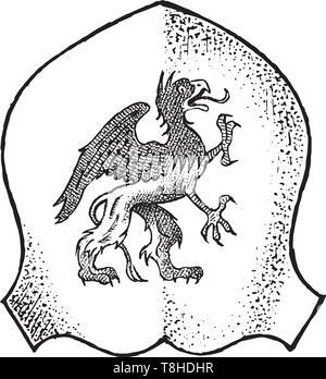 Per animale araldico in stile vintage. Inciso lo stemma con la mitica creatura. Emblemi medievale e il logo del regno fantasy. Immagini Stock