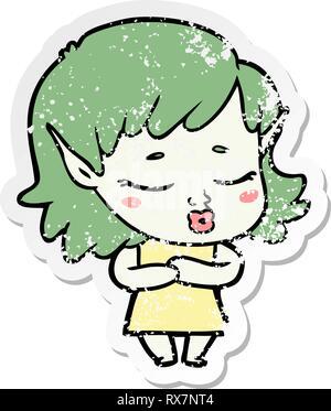 Addolorato adesivo di un timido cartoon elf ragazza Immagini Stock