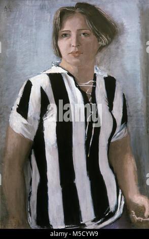 """547918 la riproduzione di un """"Girl' pittura (1932) di artista Alexander Samokhvalov (1894-1971). Olio e Immagini Stock"""
