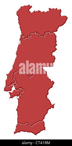 Cartina Politica Portogallo Con Regioni.Mappa Politica Del Portogallo Con Le Varie Regioni Foto Stock Alamy