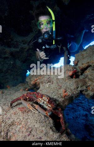 Scuba Diver esplora la caverna contenente il canale aggrappandosi al granchio. Immagini Stock