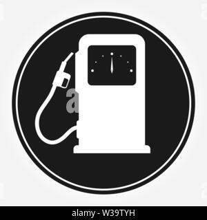 Simbolo della colonna per il riempimento di vetture a benzina. Icona del piatto. Icona automatico della stazione di riempimento. Immagini Stock