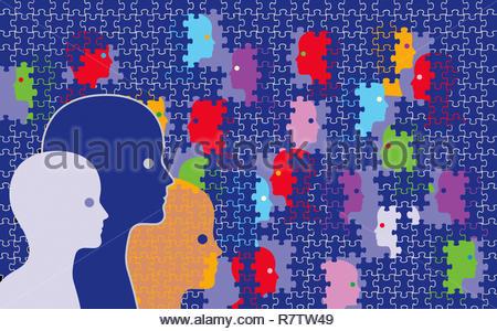 Facce essendo coperte da Jigsaw Puzzle pezzi Immagini Stock