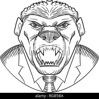 Schizzo di disegno stile testa illustrazione di un arrabbiato e aggressiva di miele badger indossando un cappotto e cravatta o business suit viste dalla parte anteriore sulla isolato w Immagini Stock