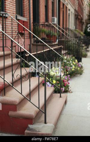 Appartamento di New York edifici marciapiede Immagini Stock
