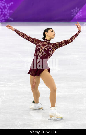 Mirai Nagasu (USA) competere nel pattinaggio di figura - Ladies' breve presso i Giochi Olimpici Invernali PyeongChang 2018 Immagini Stock