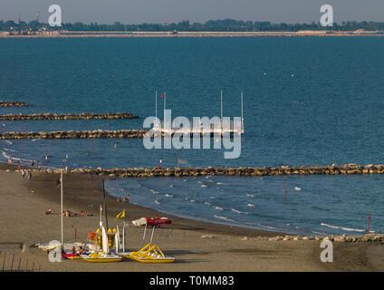 Spiaggia del Lido di Venezia, regione Veneto, Venezia, Italia Immagini Stock