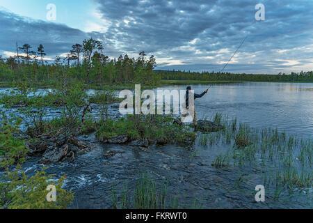 Pesca a mosca in Lapponia, Finlandia. Immagini Stock