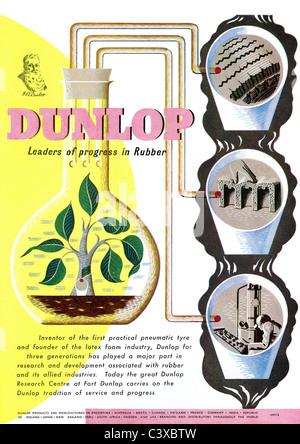 Pubblicità per Dunlop, dal Festival della Gran Bretagna guida, pubblicato da HMSO. Londra, UK, 1951 Immagini Stock