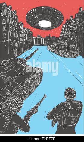 Disegno stile di disegno illustrativo che mostra un T-34 serbatoio russo di fronte contro un U.S. M4 Sherman con American guerra mondiale due soldati GI in primo piano un Immagini Stock