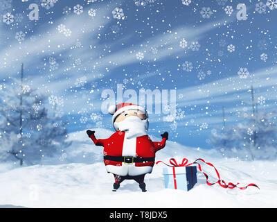 3D render di Santa in un paesaggio innevato con dono Immagini Stock