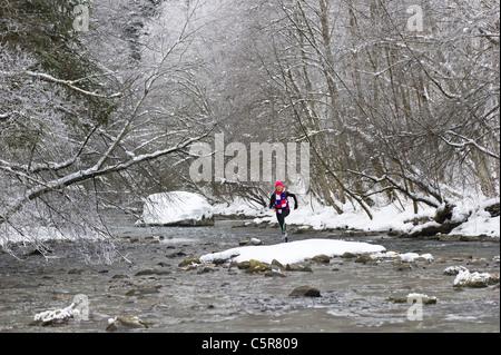 Un pareggiatore attraversando un nevoso fiume alpino Immagini Stock