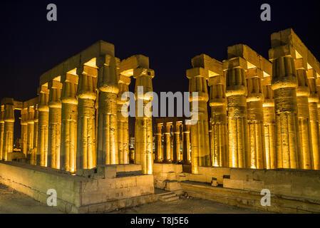 Amenhotep III colonnato di notte, Luxor, Egitto Immagini Stock