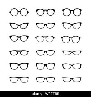 Set di immagini vettoriali. Montatura per occhiali, design piatto Immagini Stock