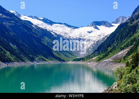 Serbatoio di Schlegeis, Schlegeis-Kees ghiacciaio, Alpi della Zillertal, vicino a Finkenberg, Zillertal, Tirolo, Austria Immagini Stock