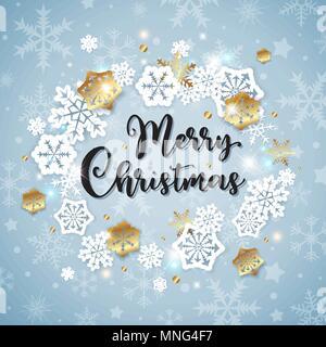 Vettore banner di Natale con bianca e oro fiocchi di neve di carta su uno sfondo blu. Buon Natale scritte. Immagini Stock