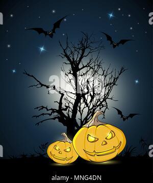 Zucche arancione e silhouette di albero su uno sfondo nero. Halloween biglietto di auguri. Immagini Stock