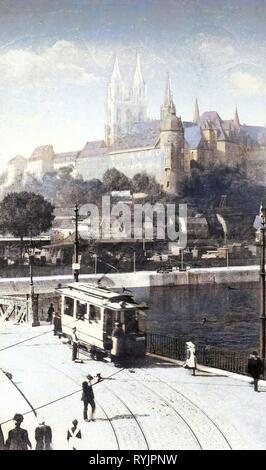 Elba a Meißen, Tram a Meißen, Albrechtsburg, Altstadtbrücke Meißen, 1910, Meißen, Brücke mit Strassenbahn, Elbe und Burgberg, Germania Immagini Stock