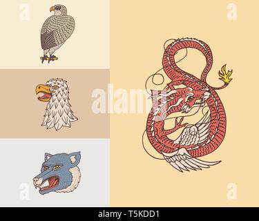 Vintage teste di animali. Logo per t-shirt. Wild dragone cinese, panther,Falcon. La traduzione del nome giapponese del drago mitologico. Disegnata a mano Immagini Stock